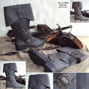 Caribbean Pirate Distressed Leather Look Boots